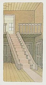an illustration of an empty room featuring two floors connected by a carpeted stairway.