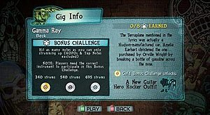 """Guitar Hero 5 - Guitar Hero 5 introduces both song-specific and open-gig Challenges that offer the player more rewards for completing certain feats while playing a song. This screenshot shows the Challenge for the song """"Gamma Ray"""" by Beck."""