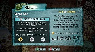 "Guitar Hero 5 - Guitar Hero 5 introduces both song-specific and open-gig Challenges that offer the player more rewards for completing certain feats while playing a song. This screenshot shows the Challenge for the song ""Gamma Ray"" by Beck."