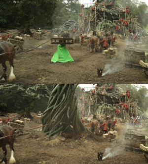 Jack the Giant Slayer - The giant beanstalk, before and after it was rendered with computer graphics.