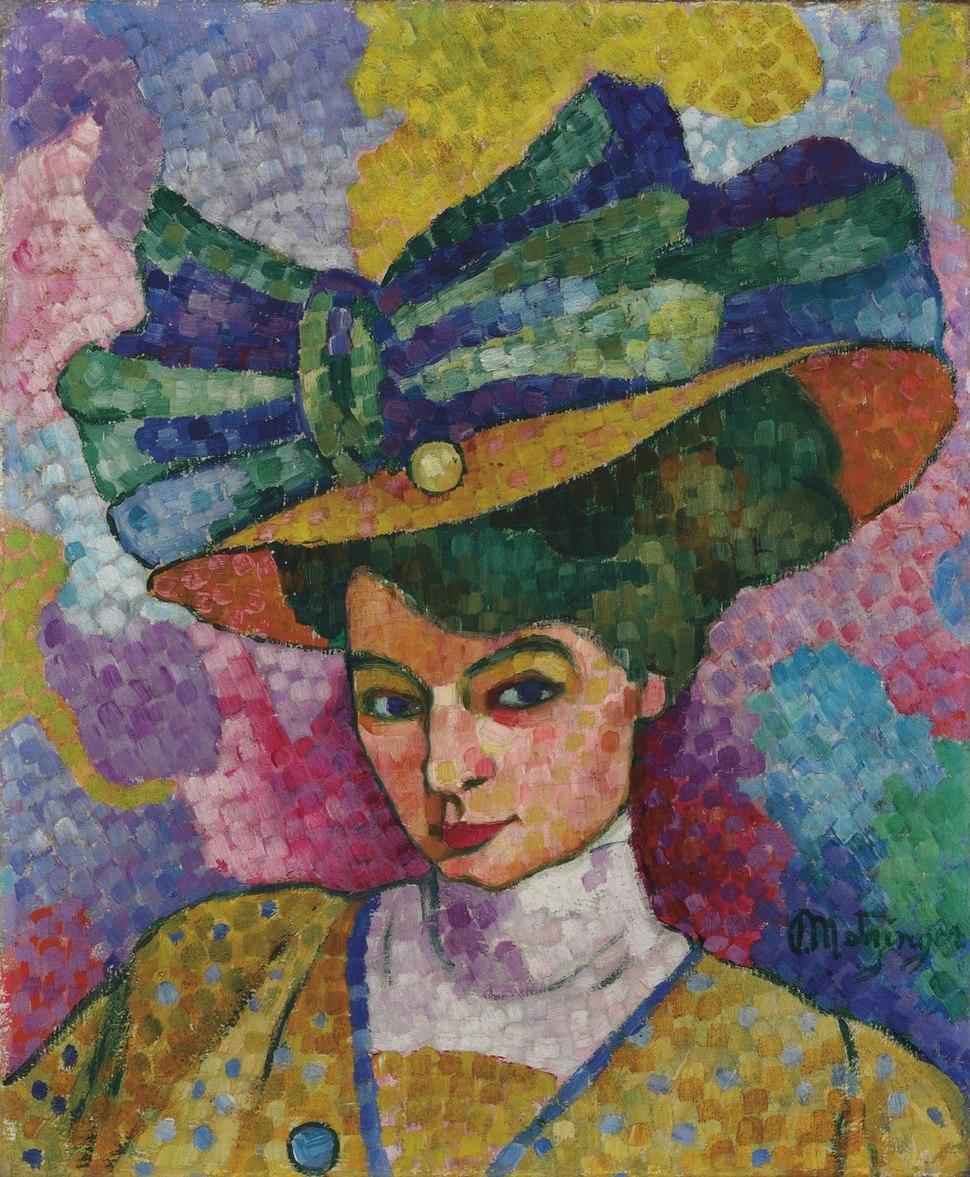 Jean Metzinger, c.1906, Femme au Chapeau (Woman with a Hat), oil on canvas, 44.8 x 36.8 cm, Korban Art Foundation.
