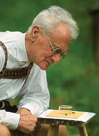 Karl von Frisch - In traditional dress, with his honey bees