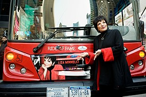 Ride of Fame - Liza Minnelli posing with her Ride of Fame decal