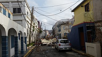 Effects of Hurricane Irma in the British Virgin Islands - Main Street, Road Town in the days after Hurricane Irma.