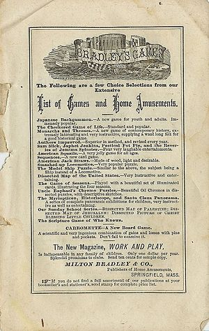 Milton Bradley - 1872 advertisement