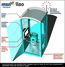 A 3D diagram of the proposed iLoo showing a blue, cuboid-shaped toilet cubical with a lavatory situated to the right. A computer keyboard and plasma screen are positioned opposite the toilet bowl, and a sink is in the centre. On top of the cubical is a wireless aerial with demonstrative waves emanating from it. Microsoft's MSN branding is in the left-hand corner of the diagram.