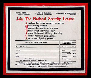 National Security League - Membership application of the NSL, circa 1918, touting the organization's agenda of patriotic education and support for universal military training.