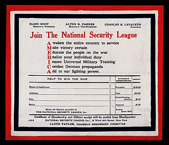 National Security League - Membership application of the NSL, c. 1918, touting the organization's agenda of patriotic education and support for universal military training.