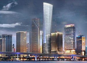 One Bayfront Plaza - Artist rendering of Miami skyline with One Bayfront Plaza in center