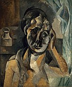 Pablo Picasso, 1910, Woman with Mustard Pot (La Femme au pot de moutarde), oil on canvas, 73 x 60 cm, Gemeentemuseum, The Hague. Exhibited at the Armory Show, New York, Chicago, Boston 1913.jpg