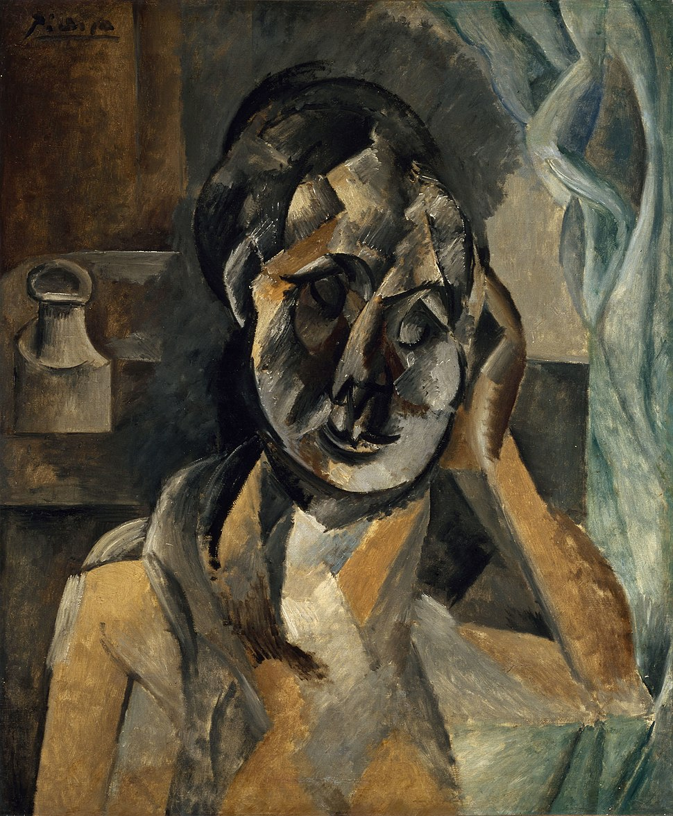 Pablo Picasso, 1910, Woman with Mustard Pot (La Femme au pot de moutarde), oil on canvas, 73 x 60 cm, Gemeentemuseum, The Hague. Exhibited at the Armory Show, New York, Chicago, Boston 1913