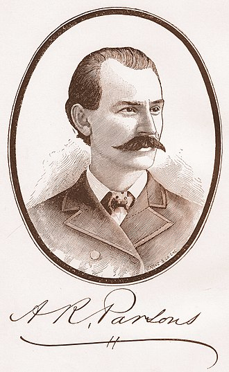 Albert Parsons - Steel engraving of Albert R. Parsons used as a frontis piece for his 1889 memoir.