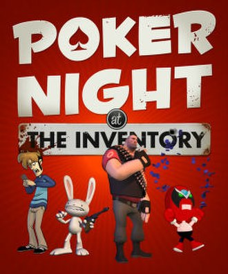 Poker Night at the Inventory - Poker Night at the Inventory cover. Characters (l–r): Tycho Brahe, Max, the Heavy Weapons Guy, Strong Bad