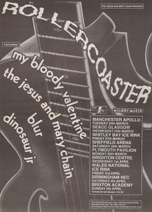 "A monochrome image of the word ""rollercoaster"" in large warped text. Other text reads ""Blur"", ""Dinosuar Jr."", ""My Bloody Valentine"" and ""The Jesus and Mary Chain"". A logo for Melody Maker is seen in the top right corner."