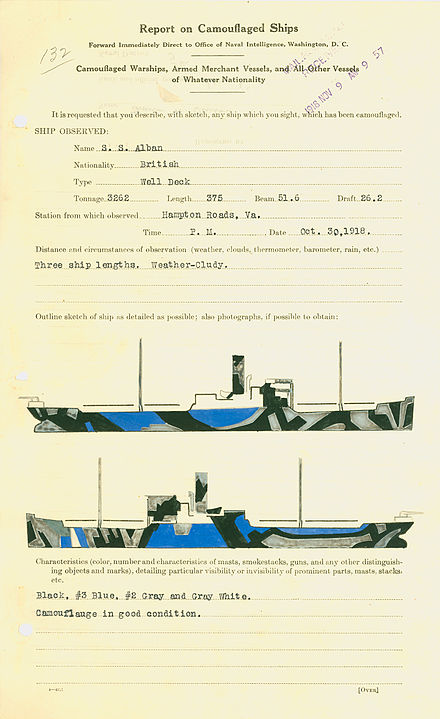 Camouflage pattern of the British ship S.S. Alban as documented by Thomas Hart Benton S.S. Alban camouflage by Thomas Hart Benton.jpg
