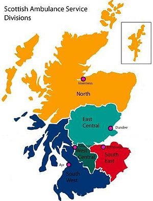 Scottish Ambulance Service - Map of the five regional divisions within the Scottish Ambulance Service.