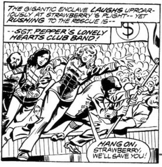 Marvel Comics Super Special - A panel from the unpublished Sgt. Pepper's adaptation. Art by George Pérez and Jim Mooney