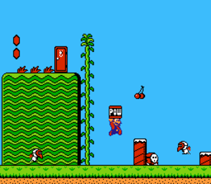 Super Mario Bros. 2 - Super Mario Bros. 2 features some enemies and items from the preceding game. The playable characters can now also pick up and throw objects at opponents to defeat them.