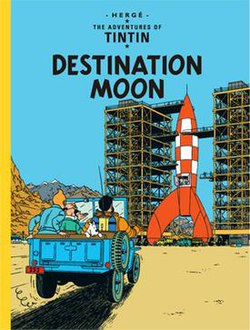 Calculus, Tintin, Snowy, and Haddock approach an enormous, under construction rocket ship in a jeep.
