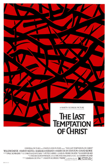 the last temptation of christ film  black thorns against a blood red background