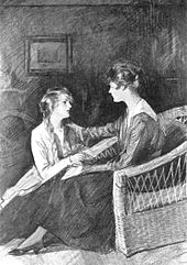 Two young women face each other, one (right) seated in a chair, the other sitting on the floor. They are lookng intently at each other; the one on the right has placed her right arm on the other's left shoulder.
