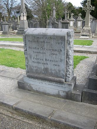 Piaras Béaslaí - The gravestone of Thomas Ashe, Peadar Kearney and Piaras Béaslaí at Glasnevin Cemetery.
