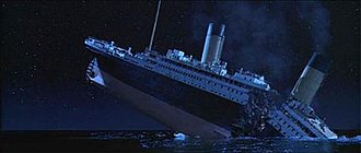 Titanic (1997 film) - Unlike previous Titanic films, Cameron's retelling of the disaster showed the ship breaking into two pieces before sinking entirely. The scenes were an account of the moment's most likely outcome.