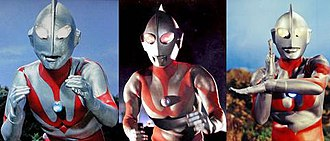 Ultraman - Ultraman's suit variations in 1966: Type A (left), Type B (middle) and Type C (right).