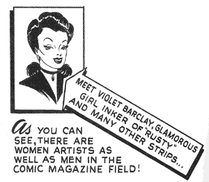 Violet Barclay - Barclay as depicted by uncredited artist in Secrets Behind the Comics by Stan Lee (1947)