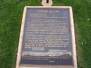William B. Travis - Plaque with the contents of the letter in front of the Alamo