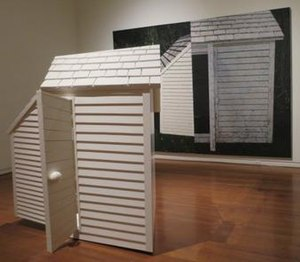 Jennifer Bartlett - House with Open Door, oil on canvas, wood paint and steel, Honolulu Museum of Art