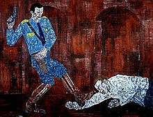 'White Squad V', acrylic on linen painting by Leon Golub, 1984.jpg