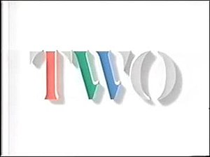BBC Two 'Two' ident - The TWO ident in a stencil style font