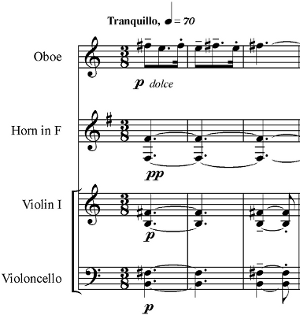 Concerto for Orchestra (Bartók) - The second theme of the first movement (measure 155). The harp, which plays a quarter note (F sharp) in the last measure, is omitted.