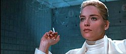 A moment from the infamous interrogation scene, featuring Sharon Stone as Catherine Tramell