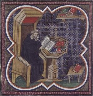 Pierre Bersuire - Detail of Pierre Bersuire at work, from his translation of Titus Livius, Ab urbe condita, fourteenth century