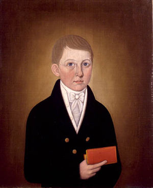 John Brewster Jr. - Unidentified Boy with Book (1810) by John Brewster, Jr. (from the collection of the Florence Griswold Museum, Old Lyme, Connecticut)