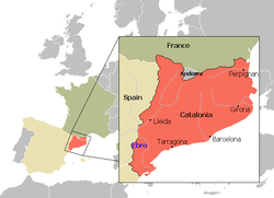 Territory of the Principality of Catalonia until 1659. Location superimposed to current borders