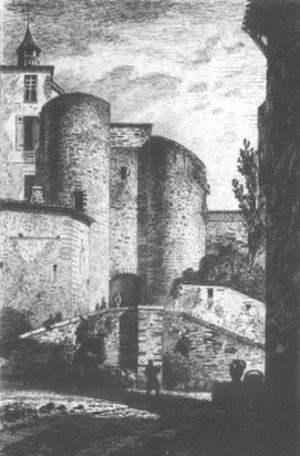 Bazas - City gate of Bazas as painted in the 19th century
