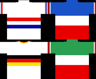 National road cycling championships - An example of the British, French, German and Italian national cycling jerseys