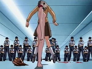 Elfen Lied - A segment from Lucy's escape scene in the first episode of the anime, which is notorious for featuring nudity, graphic violence and transgressive themes. Here, Lucy is using the beheaded body of a secretary as a shield.