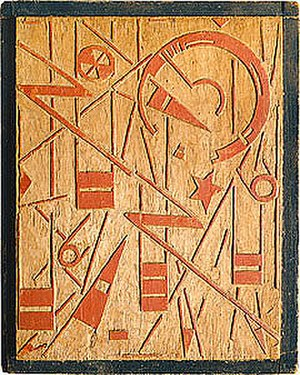 Erich Buchholz - Orbits of the Planets Painted woodblock by Erich Buchholz (1920)