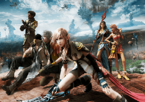 Characters of the Final Fantasy XIII series - Promotional image showing the six original protagonists as they appear in Final Fantasy XIII. Lightning and Snow went through several redesigns across the three games.