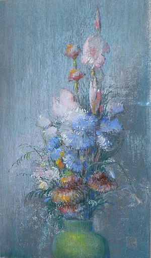 Leon Dabo - Flowers in a Green Vase, Pastel