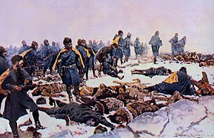 """Northern Cheyenne Exodus - After the final battle at """"The Pit"""". Painting by Frederic Remington, 1897"""