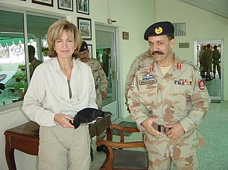 Paramilitary forces of Pakistan - A senior Pakistan Frontier Corps Colonel, Commandant of the Pishin Scouts (right), presents United States DEA Administrator Karen P. Tandy (left) with his unit's ballcap at Chaman, Balochistan, Pakistan.