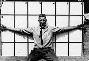 """Geary Eppley - Eppley has his """"wingspan"""" measured at Maryland State College in 1917."""