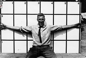 "Geary Eppley - Eppley has his ""wingspan"" measured at Maryland State College in 1917."