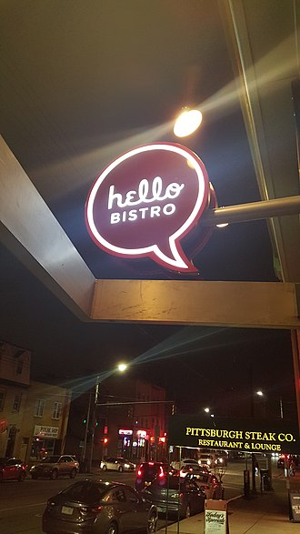Eat'n Park - Hello Bistro sign at the restaurant on Pittsburgh's South Side