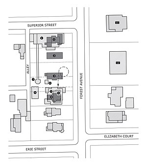 Edward R. Hills House -  Diagram showing the development of the Moore estate and moving of the Gray house.